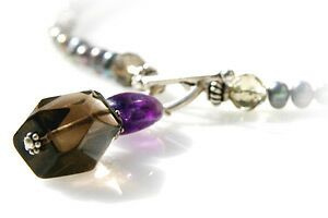 Pearl Amethyst and Smoky Quartz Necklace